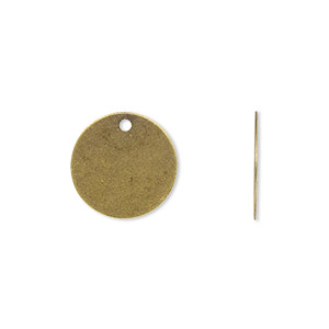 drop, antique gold-plated brass, 15mm flat round. sold per pkg of 100.