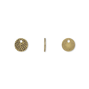 drop, antique gold-plated brass, 7mm single-sided textured flat round. sold per pkg of 100.