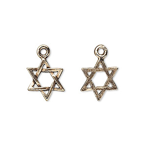 drop, antique gold-plated pewter (tin-based alloy), 13x11mm star of david. sold per pkg of 4.