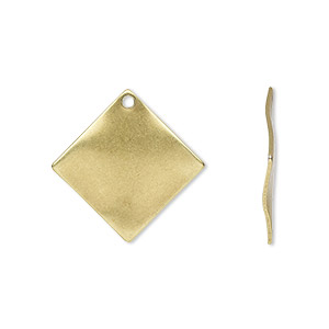 drop, antique gold-plated steel, 20x20mm wavy diamond. sold per pkg of 10.