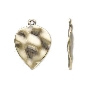 drop, antique gold-plated steel, 23x18mm textured leaf. sold per pkg of 10.