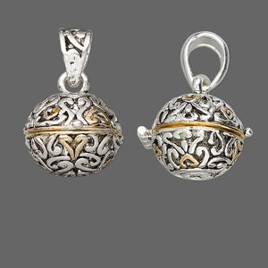 drop, antique silver- and gold-finished pewter (zinc-based alloy), 18mm round prayer box with swirl design and magnetic closure. sold individually.