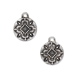 drop, antique silver-finished pewter (zinc-based alloy), 15mm flat round with celtic design. sold per pkg of 2.