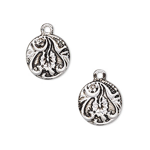drop, antique silver-finished pewter (zinc-based alloy), 15mm flat round with flower and leaf design. sold per pkg of 2.