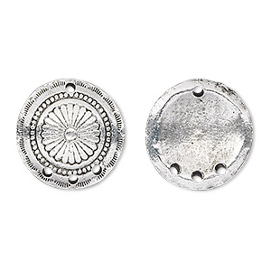 drop, antique silver-plated pewter (tin-based alloy), 18mm concho disc with flower. sold per pkg of 2.