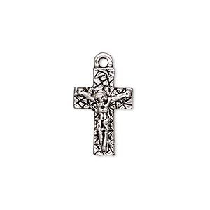 drop, antique silver-plated pewter (tin-based alloy), 19x12.5mm single-sided crucifix. sold individually.