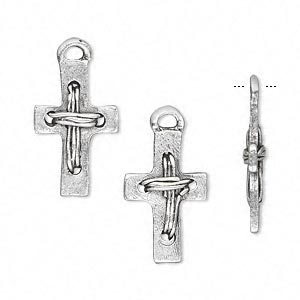 drop, antique silver-plated pewter (tin-based alloy), 20x12mm double-sided cross. sold per pkg of 4.