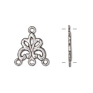 drop, antique silver-plated pewter (zinc-based alloy), 14x14mm single-sided floral with 3 loops. sold per pkg of 10.