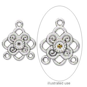 drop, antique silver-plated pewter (zinc-based alloy), 17x17mm single-sided diamond with 2 loops and (1) pp18 setting. sold per pkg of 10.