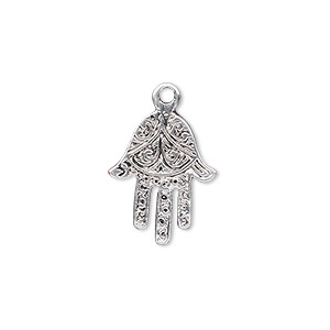 drop, antique silver-plated pewter (zinc-based alloy), 18x14mm single-sided fatima hand. sold per pkg of 10.