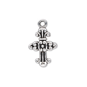 drop, antique silver-plated pewter (zinc-based alloy), 20x14mm single-sided cross. sold per pkg of 20.