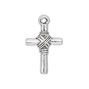 drop, antique silver-plated pewter (zinc-based alloy), 24x18mm double-sided cross. sold per pkg of 6.