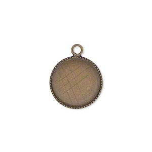 drop, antiqued brass, 15mm round with beaded edge and 14mm round bezel cup setting. sold per pkg of 6.