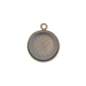 drop, antiqued brass, 16mm round with beaded edge and 15mm round bezel cup setting. sold per pkg of 6.