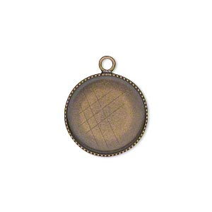 drop, antiqued brass, 17mm round with beaded edge and 16mm round bezel cup setting. sold per pkg of 6.