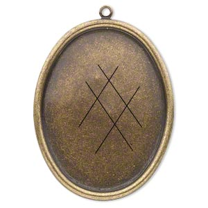 drop, antiqued brass, 45x35mm oval with 40x30mm oval setting. sold per pkg of 4.