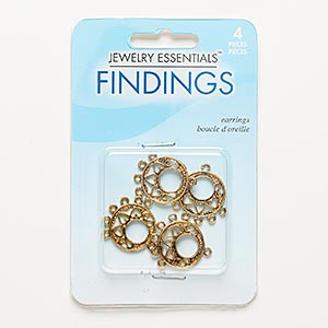 drop, antiqued gold-finished pewter (zinc-based alloy), 18mm double-sided round go-go with cutout heart design and 5 loops. sold per pkg of 4.