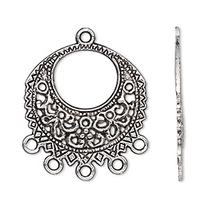 drop, antiqued silver-finished pewter (zinc-based alloy), 27mm single-sided filigree round with 5 loops. sold per pkg of 500.