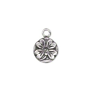 drop, antiqued sterling silver, 12mm single-sided flat round with 4-leaf clover. sold individually.