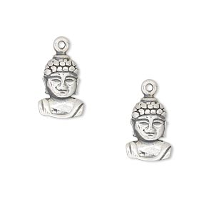 drop, antiqued sterling silver, 14x10mm single-sided buddha head. sold per pkg of 2.