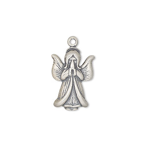drop, antiqued sterling silver, 18x12.5mm single-sided praying angel. sold per pkg of 2.