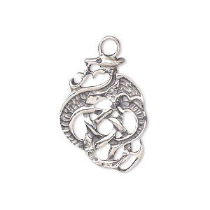 drop, antiqued sterling silver, 25x18.5mm celtic dragon. sold individually.
