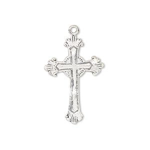 drop, antiqued sterling silver, 26x18mm fancy cross. sold individually.