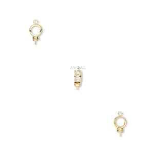 drop, bezelite, 14kt gold-filled, 7mm round with open back and 2.5mm peg with 6mm 4-prong round setting. sold individually.