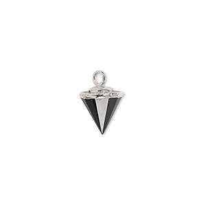 drop, black onyx (dyed) / electroplated silver / silver-plated sterling silver, 9x8mm-11x8mm hand-cut faceted cone. sold individually.