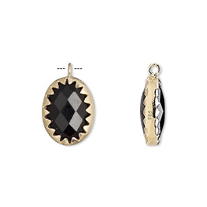 drop, black onyx (dyed) and gold-finished sterling silver, 15x11mm double-sided faceted oval. sold individually.