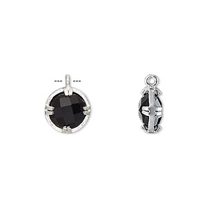 drop, black onyx (dyed) and sterling silver, 10mm double-sided faceted round. sold individually.