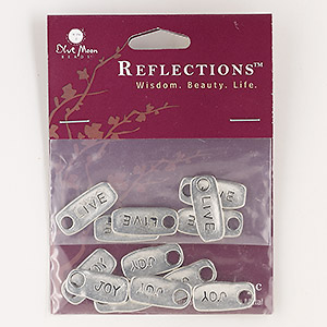 drop, blue moon beads, antiqued silver-finished pewter (zinc-based alloy), 20x9mm-21x9mm rounded rectangle with (6) live and (7) joy. sold per pkg of 13 drops.