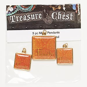 drop, blue moon beads, gold-finished pewter (zinc-based alloy), assorted square with family. pkg/3.