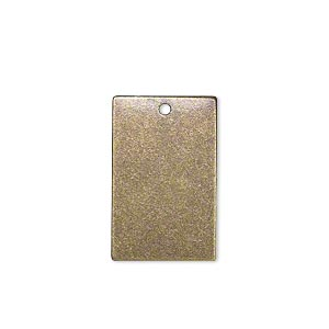 drop, brass, 22x14mm double-sided flat rectangle blank. sold per pkg of 6.