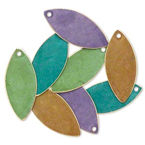 drop, brass, assorted bright patina, assorted pantone colors, 26x11mm double-sided marquise. sold per pkg of 8.