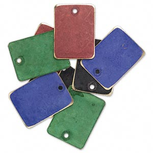 drop, brass, assorted jewel tone patina, assorted pantone colors, 20x15mm double-sided rectangle. sold per pkg of 8.