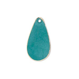 drop, brass, bright teal patina, pantone color 17-4818, 24x12mm double-sided teardrop. sold per pkg of 6.