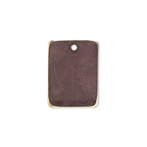 drop, brass, earth tone brown patina, pantone color 19-1321, 20x15mm double-sided rectangle. sold per pkg of 6.