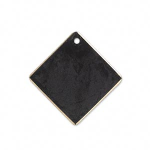 drop, brass, jewel tone black patina, pantone color 19-0508, 27x27mm double-sided diamond. sold per pkg of 6.