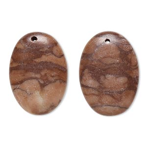 drop, brown zebra stone (natural), 24x18mm-26x19mm puffed oval with flat back, b- grade, mohs hardness 6-1/2 to 7. sold per pkg of 2.
