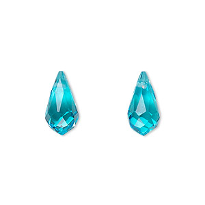 drop, celestial crystal, aqua blue, 13x7mm faceted teardrop. sold per pkg of 6.