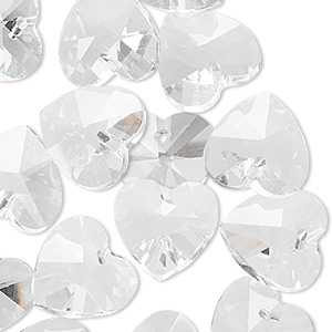 drop, celestial crystal, clear, 14mm faceted heart. sold per pkg of 16.