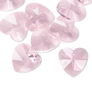 drop, celestial crystal, pink, 14mm faceted heart. sold per pkg of 16.