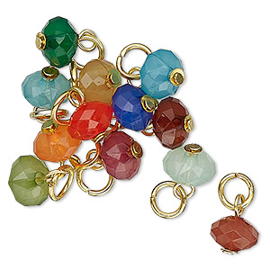 drop, charmed, acrylic and gold-finished steel, multicolored, 8x5mm faceted rondelle. sold per pkg of 12.