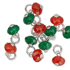 drop, charmed, acrylic and silver-finished steel, red and green, 8x5mm faceted rondelle. sold per pkg of 12.