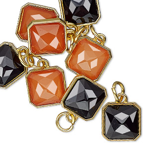 drop, charmed, resin with gold-finished steel and pewter (zinc based alloy), orange and black, 12mm faceted square. sold per pkg of 8.