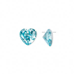 drop, cubic zirconia, aqua blue, 10x10mm hand-faceted heart, mohs hardness 8-1/2. sold per pkg of 2.
