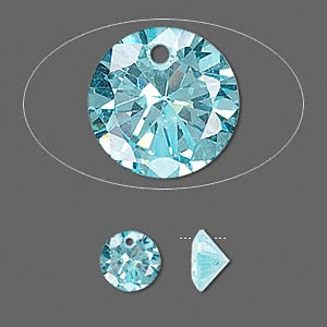 drop, cubic zirconia, aqua blue, 8mm hand-faceted round, mohs hardness 8-1/2. sold per pkg of 2.