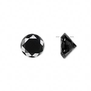 drop, cubic zirconia, black, 12mm hand-faceted round, mohs hardness 8-1/2. sold per pkg of 4.
