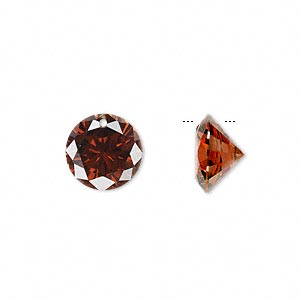 drop, cubic zirconia, brown, 12mm hand-faceted round, mohs hardness 8-1/2. sold per pkg of 2.